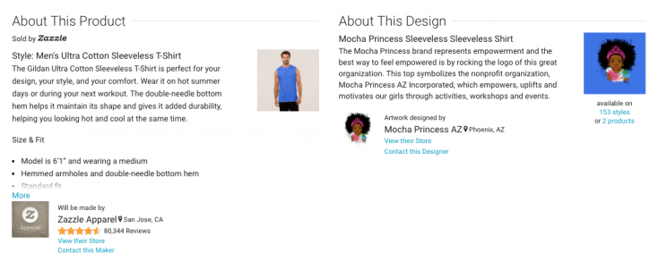 Details that differentiate the Zazzle product from the Mocha Princess design. (Photo: zazzle.com)