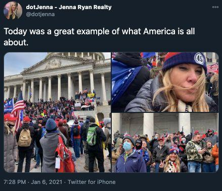 Jenna Ryan tweeted about her involvement in the Jan. 6 insurrection, including posting photographic evidence. (Photo: Twitter)