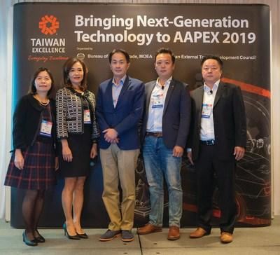 Taiwan Excellence news conference speakers (Jessica Lin, Jennifer Chang, Francis Hou, Francis Huang, Henry Chen)