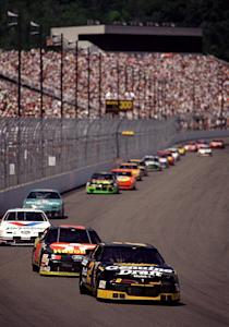 LOUDON, NH - JULY 11, 1993: Rusty Wallace won the Slick 50 300, the inaugural NASCAR Cup Series race at New Hampshire International Speedway, driving for Roger Penske. He beat Mark Martin by a margin of 1.31 seconds. Davey Allison finished third in the final race of his career. (Photo by ISC Archives/CQ-Roll Call Group via Getty Images)