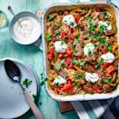 """<p>If you don't fancy <a href=""""https://www.goodhousekeeping.com/uk/food/recipes/a35381573/pork-kimchi-fried-rice/"""" rel=""""nofollow noopener"""" target=""""_blank"""" data-ylk=""""slk:rice"""" class=""""link rapid-noclick-resp"""">rice</a>, serve inside warm wholemeal <a href=""""https://www.goodhousekeeping.com/uk/christmas/christmas-recipes/a34667604/spiced-tortilla-chips-festive-houmous/"""" rel=""""nofollow noopener"""" target=""""_blank"""" data-ylk=""""slk:tortillas"""" class=""""link rapid-noclick-resp"""">tortillas</a> instead.</p><p><strong>Recipe: <a href=""""https://www.goodhousekeeping.com/uk/food/recipes/a35479433/fajita-traybake/"""" rel=""""nofollow noopener"""" target=""""_blank"""" data-ylk=""""slk:Fajita Traybake"""" class=""""link rapid-noclick-resp"""">Fajita Traybake</a></strong></p>"""