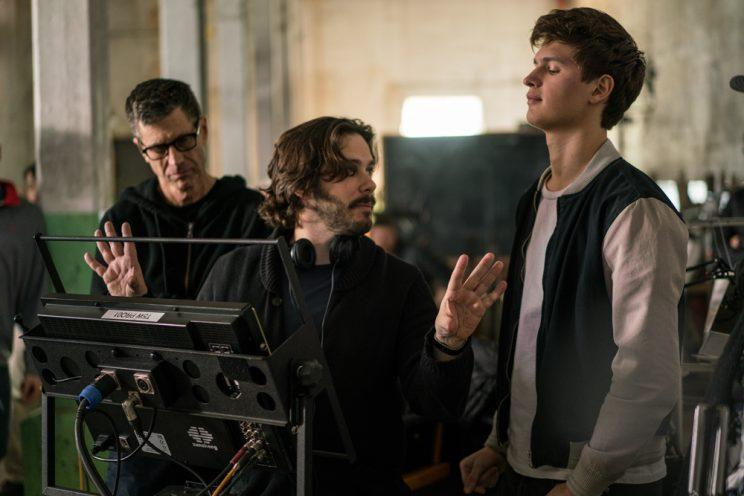 Edgar Wright with director of photography Bill Pope and actor Ansel Elgort on the set of 'Baby Driver' (credit: TriStar)