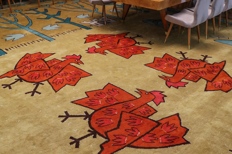 """A carpet inside the Serbia salon, in the Palata Srbija building in Belgrade. The Palata Srbija building hosted former world leaders. Each of the former Yugoslav republics had its own salon with a central room called the Hall of Yugoslavia. Furniture and carpets were custom-made, and some of the most prominent artists produced paintings and mosaics. """"It is a shame to keep such a masterpiece away from the eyes of the public,"""" said Sandra Tesla, curator of the building. (Photo: Marko Djurica/Reuters)"""