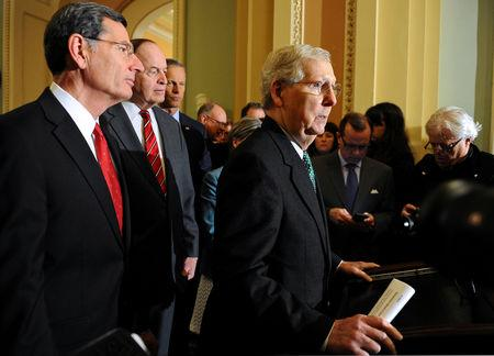 Senate Majority Leader Mitch McConnell R-KY, speaks to the media at the U.S. Capitol after a tentative deal is set to avert a second partial government shutdown in Washington, U.S., February 12, 2019.      REUTERS/Mary F. Calvert