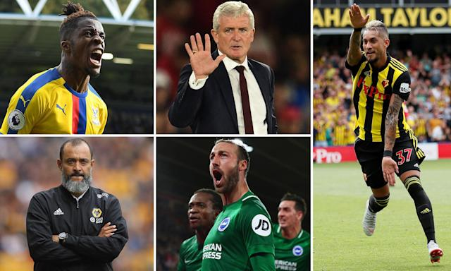 Clockwise from top right: Wilfried Zaha, Mark Hughes, Roberto Pereyra, Glenn Murray and Nuno Espírito Santo.