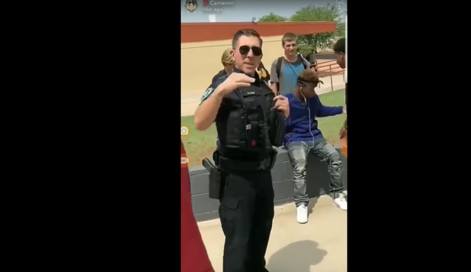 A student at Apache Junction High School in Arizona was filmed being arrested for wearing a bandana to school. (YouTube/my lil woody)