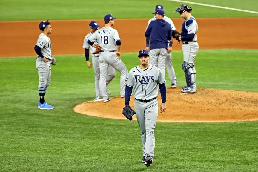 Blake Snell leaving the mound World Series Game 6