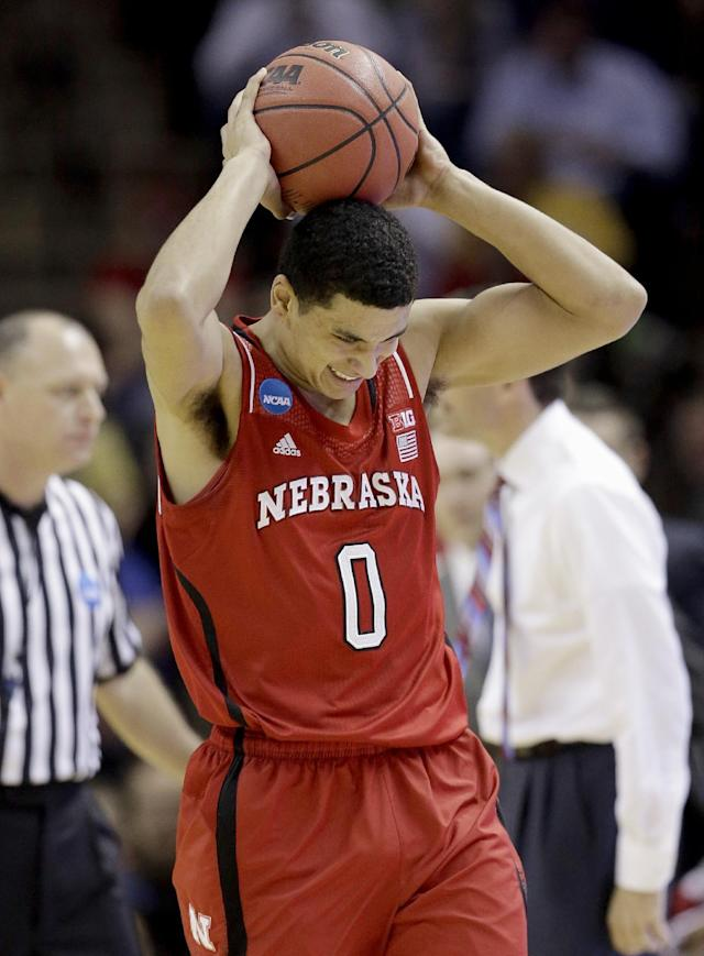 Nebraska's Tai Webster (0) reacts after being called for a foul against Baylor during the first half of a second-round game in the NCAA college basketball tournament Friday, March 21, 2014, in San Antonio. (AP Photo/David J. Phillip)