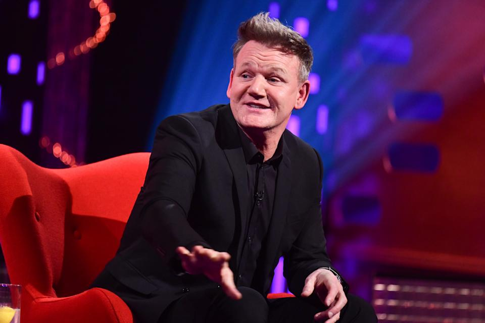 EDITORIAL USE ONLY Gordon Ramsay during filming for the Graham Norton Show at BBC Studioworks 6 Television Centre, Wood Lane, London, to be aired on BBC One on Friday evening. Picture date: Wednesday February 17, 2021.