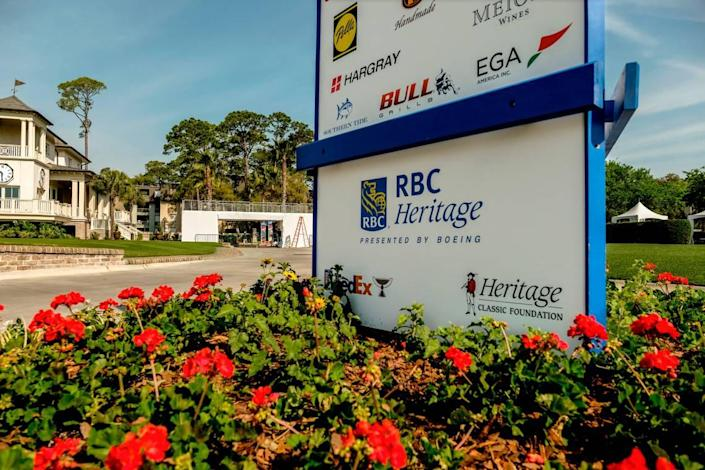 Bringing a sense of normalcy, a sponsor board will greet patrons as they enter this years RBC Heritage Presented by Boeing as seen on Thursday, April 8, 2021 at Harbour Town Golf Links in Sea Pines on Hilton Head Island.