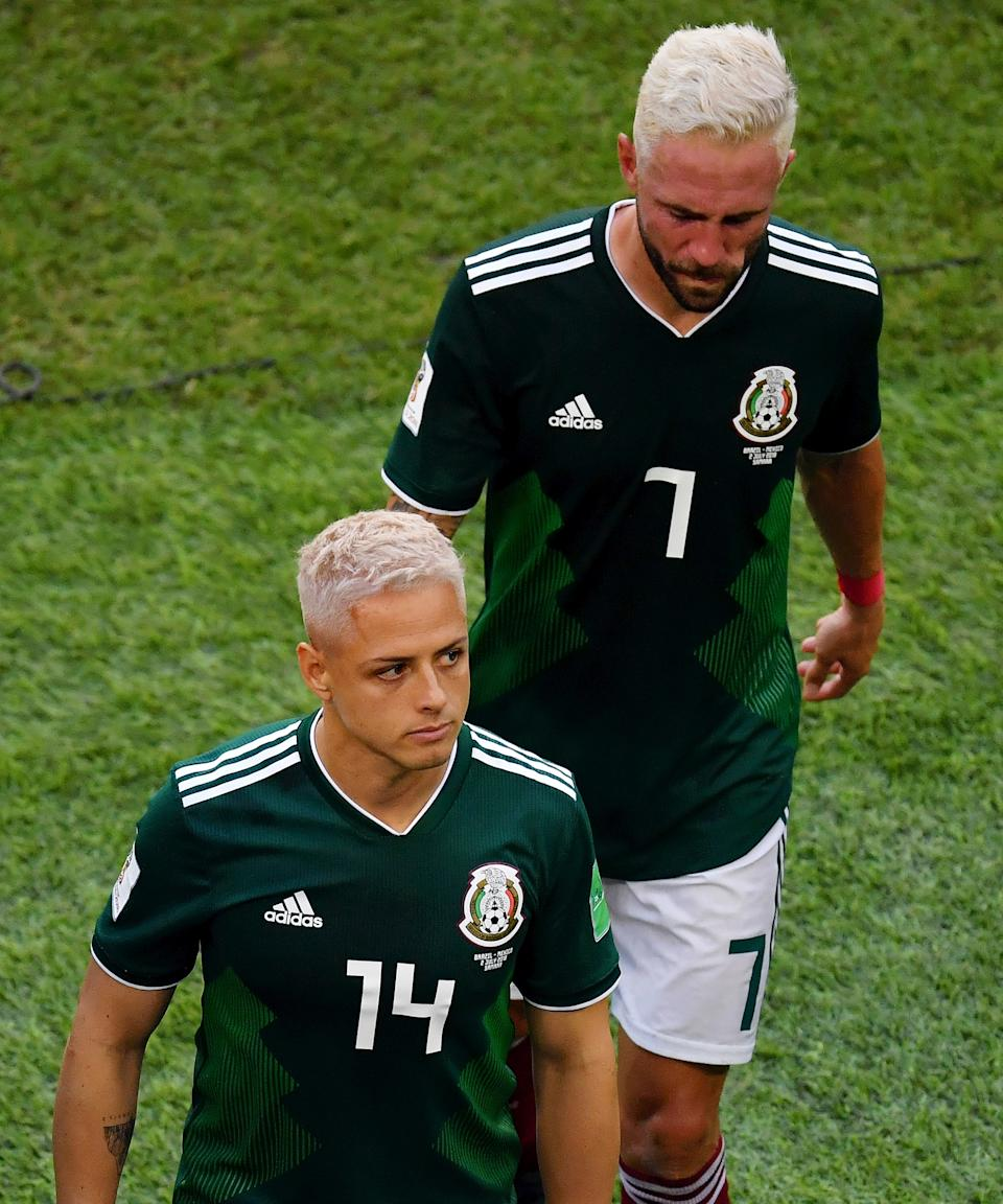 "<strong>Mexico's World Cup Players</strong><br><br>Representing more than just a hair trend, Mexico's World Cup players — including Javier Hernandez and Miguel Layun — <a href=""https://www.refinery29.com/en-us/2018/07/203414/world-cup-mexico-players-bleach-hair"" rel=""nofollow noopener"" target=""_blank"" data-ylk=""slk:went blonde"" class=""link rapid-noclick-resp"">went blonde</a> as a sign of unity and as a way to bring them luck during the international competition that summer.<span class=""copyright"">Photo: Hector Vivas/Getty Images.</span>"