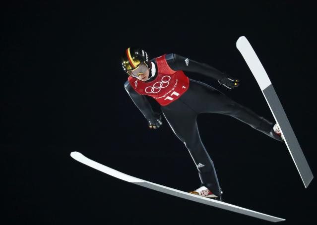 Ski Jumping - Pyeongchang 2018 Winter Olympics - Men's Team Trial round - Alpensia Ski Jumping Centre - Pyeongchang, South Korea - February 19, 2018 - Karl Geiger of Germany competes. REUTERS/Dominic Ebenbichler