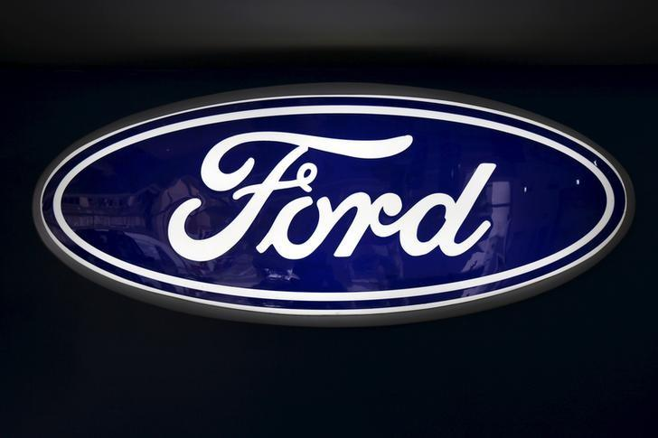The corporate logo of Ford is seen at a Ford branch in Caracas