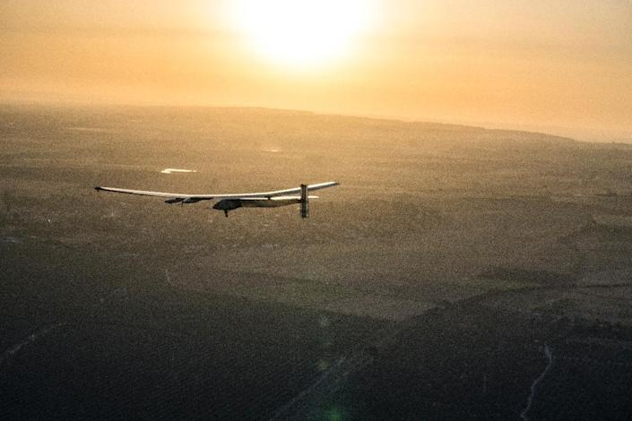 Solar Impulse 2 is not the first sun-powered plane, but unlike its predecessors it can store enough energy in its batteries to fly through the night (AFP Photo/JEAN REVILLARD / REZO)