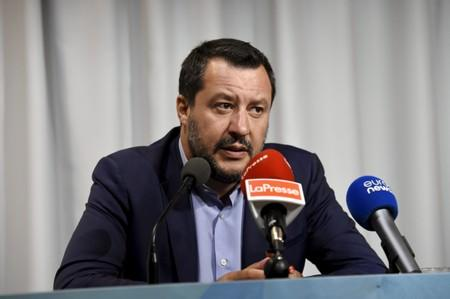 Italy's Interior Minister and Deputy PM Salvini holds a news conference in Helsinki