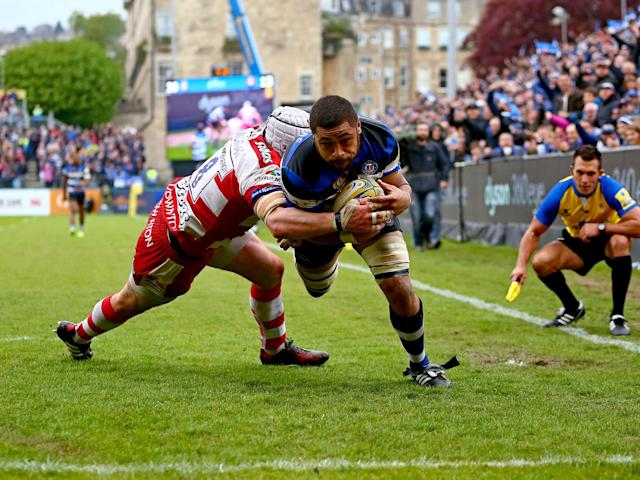 Taulupe Faletau dives to touch down for a Bath try: Getty
