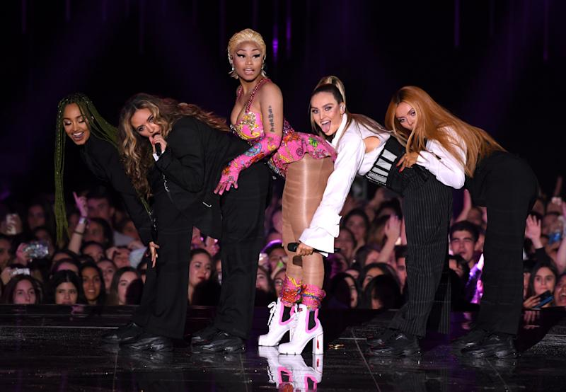Nicki Minaj and Little Mix perform on stage at the MTV Europe Music Awards 2018 held at the Bilbao Exhibition Centre, Spain. Photo credit should read: Doug Peters/EMPICS
