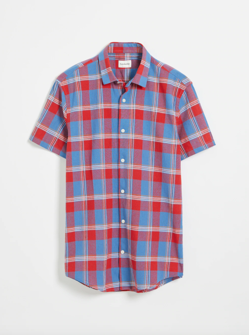 Short-Sleeved Summer Oxford Tartan Shirt in Red.