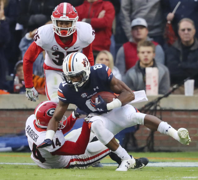 Auburn wide receiver Darius Slayton averaged 22.2 yards per catch in 2017. (AP)