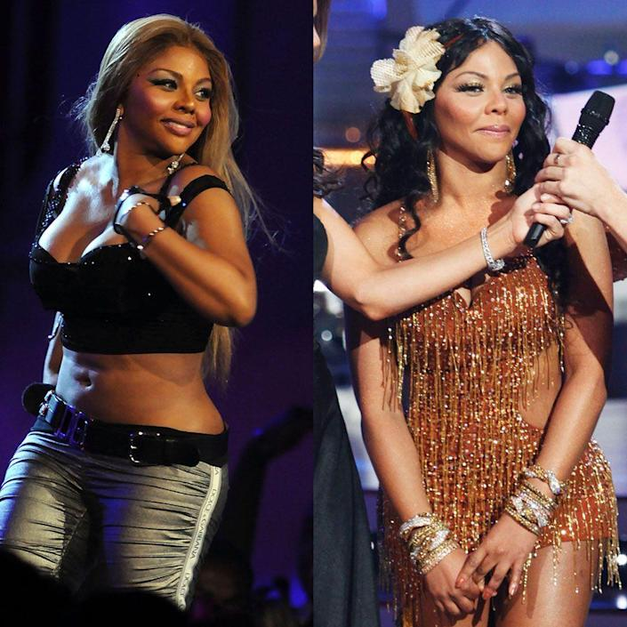 """<p>The rapper's dance rehearsals helped her lose around 20 pounds as she competed for the mirrorball trophy during season eight in 2009. In addition to 20 hours of weekly rehearsals, she also followed a healthier diet and exercised outside the studio, <a href=""""https://www.cbsnews.com/pictures/celebrity-weight-loss-8-reality-tv-stars-strut-it/8/"""" rel=""""nofollow noopener"""" target=""""_blank"""" data-ylk=""""slk:CBS News"""" class=""""link rapid-noclick-resp"""">CBS News</a> reported.</p>"""