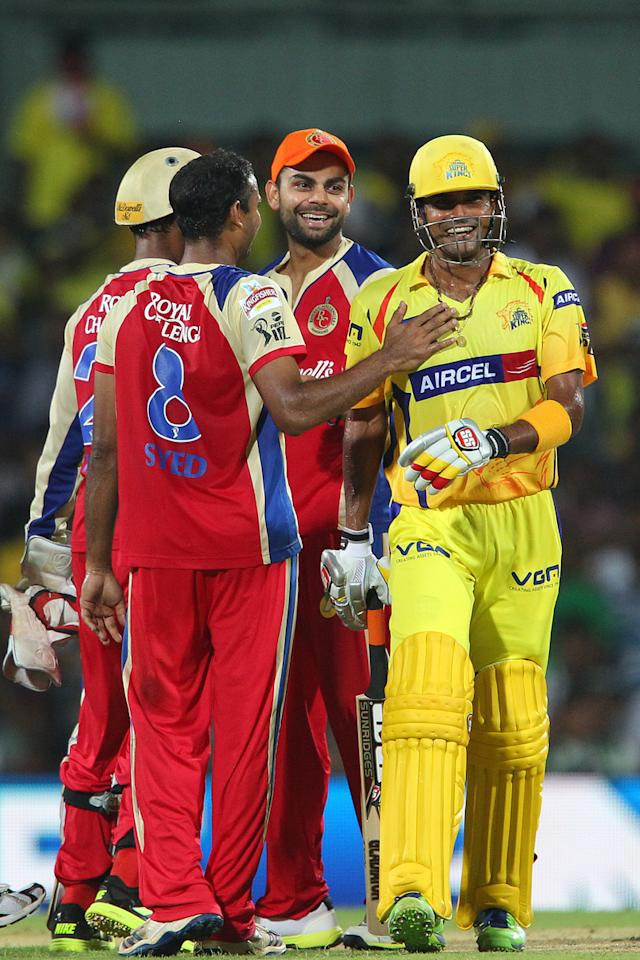 Subramaniam Badrinath shares a joke with Virat Kohli during match 16 of the Pepsi Indian Premier League between The Chennai Superkings and the Royal Challengers Bangalore held at the MA Chidambaram Stadiumin Chennai on the 13th April 2013..Photo by Ron Gaunt-IPL-SPORTZPICS  .. .Use of this image is subject to the terms and conditions as outlined by the BCCI. These terms can be found by following this link:..https://ec.yimg.com/ec?url=http%3a%2f%2fwww.sportzpics.co.za%2fimage%2fI0000SoRagM2cIEc&t=1506281799&sig=Lq0ku8fELRtX7AmrFgi7dA--~D