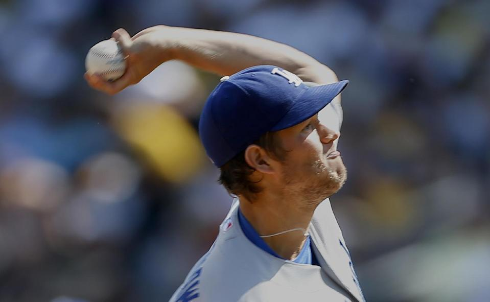 Los Angeles Dodgers starting pitcher Clayton Kershaw throws against the Pittsburgh Pirates in the first inning of a baseball game on Saturday, June 15, 2013, in Pittsburgh. (AP Photo/Keith Srakocic)