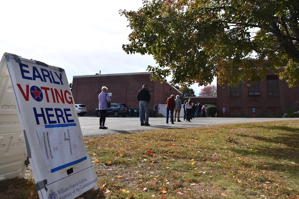 In Waltham the line moved fast for early voting, but it got long at times (Jenna Fisher/Patch)