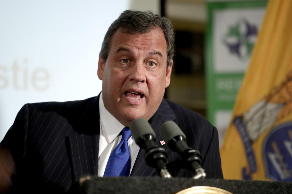 FILE - In this Nov. 29, 2017, file photo, New Jersey Gov. Chris Christie speaks during a news conference in Newark, N.J. Christie tweeted on Saturday, Oct. 3, 2020, that he has tested positive for COVID-19. (AP Photo/Julio Cortez, File)