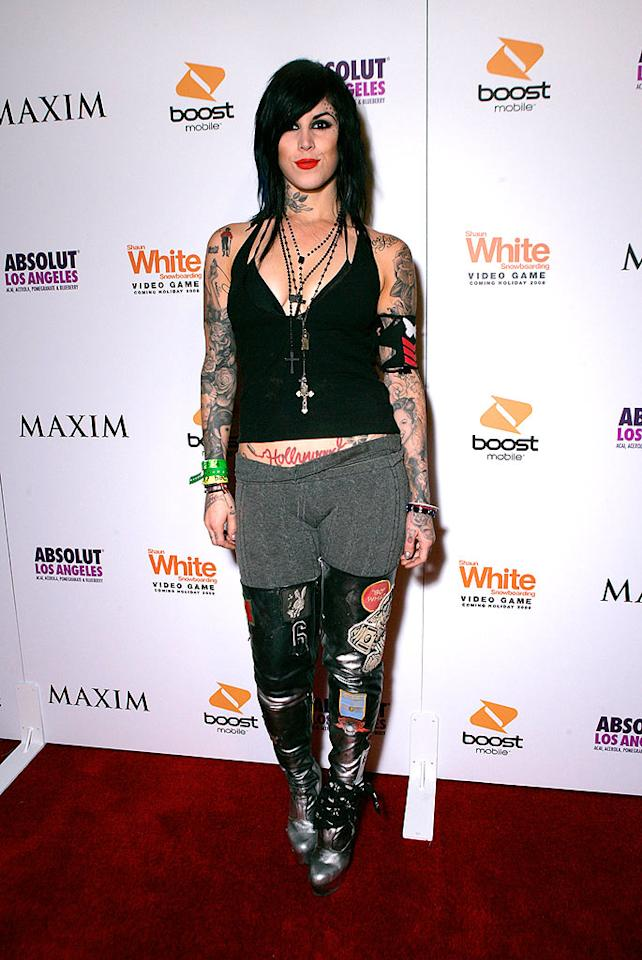 "Tattooist-to-the-stars Kat Von D shows off quite a bit of ink upon entering the event. Todd Williamson/<a href=""http://www.wireimage.com"" target=""new"">WireImage.com</a> - July 31, 2008"