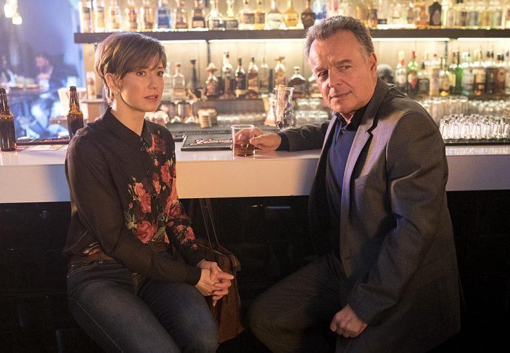Carrie Coon as Gloria Burgle, Ray Wise as Paul Marrane in FX's Fargo.