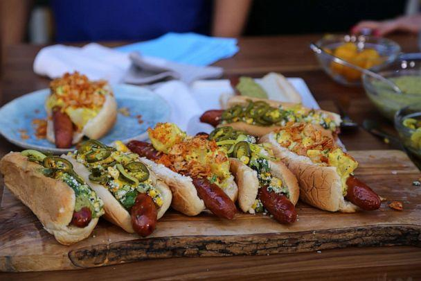 PHOTO: Hot dogs with corn and jalapenos and potato salad and BBQ chips. (ABC News)