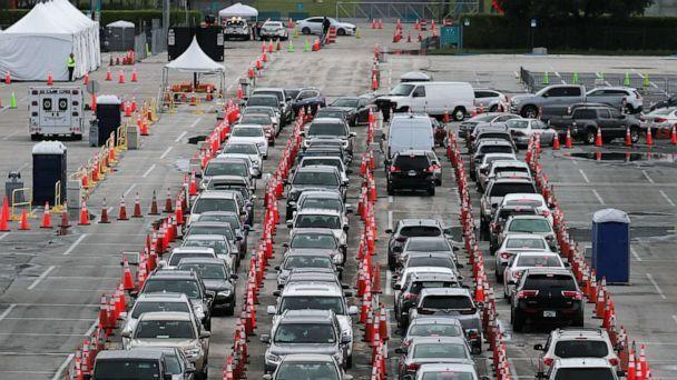 PHOTO: Cars are seen as the drivers wait to be tested for COVID-19 at the COVID test site located in the Hard Rock Stadium parking lot on July 06, 2020, in Miami Gardens, Fla. (Joe Raedle/Getty Images)