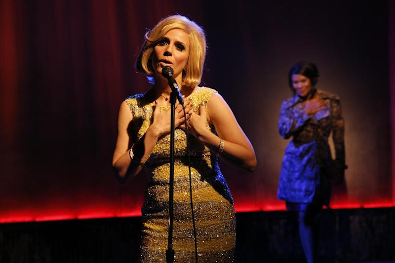 """This theater image released by The O + M Company shows Kirsten Holly Smith as Dusty Springfield in """"Forever Dusty."""" (AP Photo/The O + M Company, Joan Marcus)"""