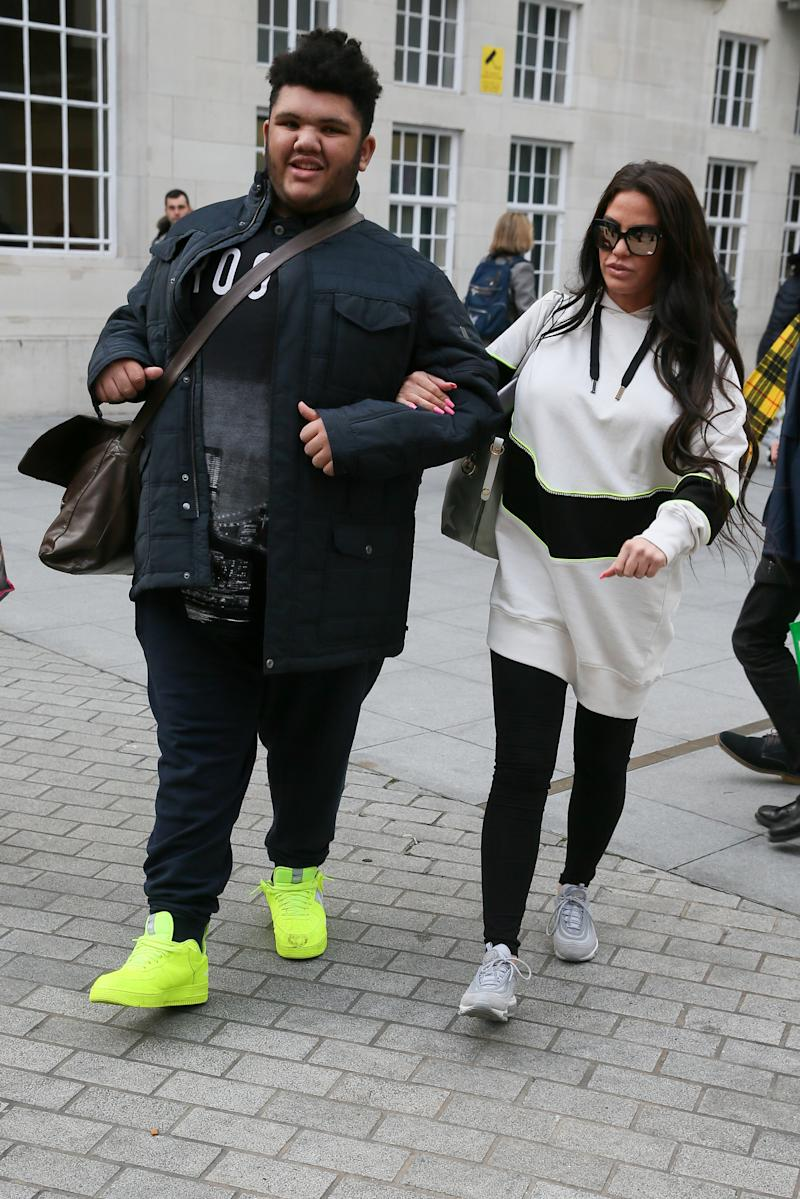 Katie Price and her son Harvey Price seen leaving BBC TV studios after appearing on Victoria Derbyshire TV showsighting