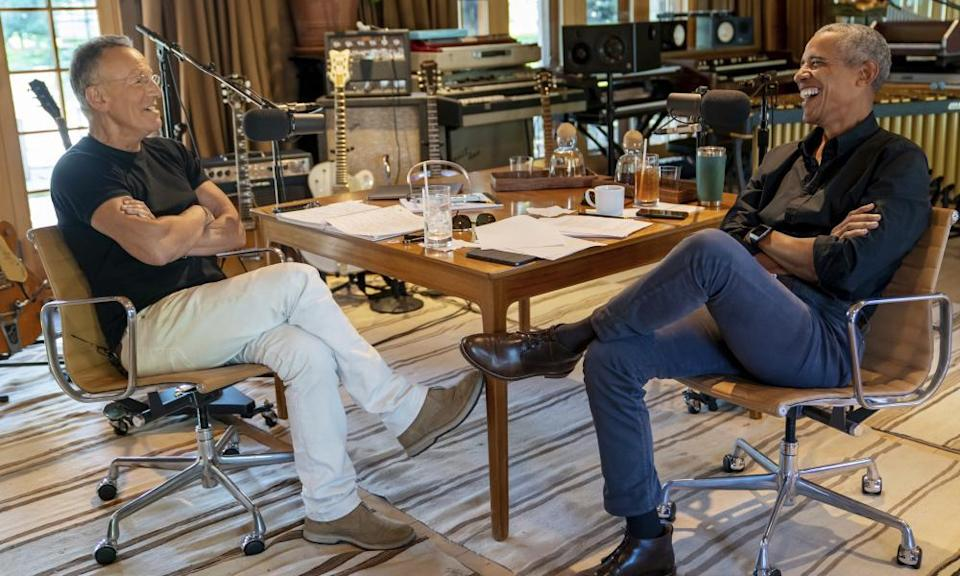 Bruce Springsteen and Barack Obama recording their podcast of conversations at Springsteen's home studio in New Jersey.