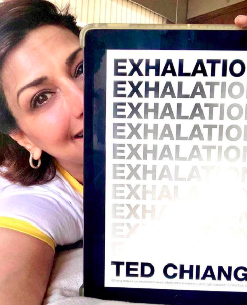 Sonali Bendre recommends reading <strong>Exhalation by Ted Chiang</strong> via her book club.