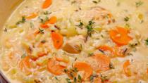 """<p>What a wondrous soup: healthful, vegetal, and packed with tons of chicken and herbs. </p><p>Get the recipe from <a href=""""https://www.oprahdaily.com/cooking/recipe-ideas/recipes/a51567/creamy-chicken-rice-soup-recipe/"""" rel=""""nofollow noopener"""" target=""""_blank"""" data-ylk=""""slk:Delish"""" class=""""link rapid-noclick-resp"""">Delish</a>.</p>"""