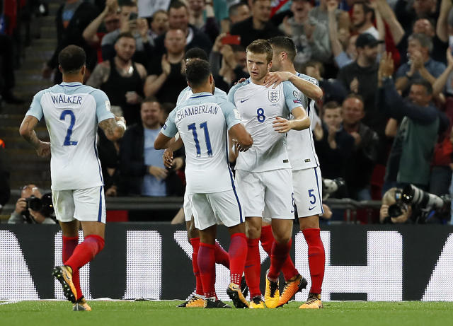 <p>England's Eric Dier is celebrated by teammates after scoring during the World Cup Group F qualifying soccer match between England and Slovakia at Wembley Stadium in London, England, Monday, Sept. 4, 2017. (AP Photo/Kirsty Wigglesworth) </p>