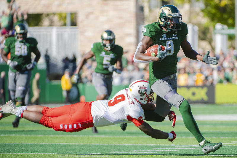 Colorado State WR Warren Jackson, right, turned in a monster performance last season against New Mexico. (Photo by Timothy Nwachukwu/Getty Images)