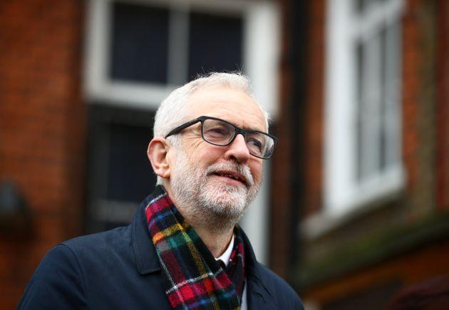 Britain's opposition Labour Party leader Jeremy Corbyn poses outside a polling station after voting in the general election in London, Britain, December 12, 2019. REUTERS/Hannah McKay