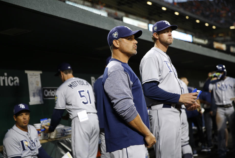 """""""I don't know if it's innovative or not,"""" Rays manager Kevin Cash said about his new pitching strategy. (AP Photo/Patrick Semansky)"""