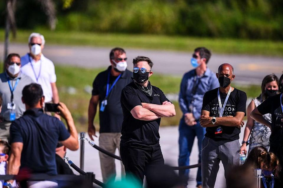SpaceX CEO Elon Musk (C) looks on during the Inspiration4 crew send off at NASAs Kennedy Space Center in Florida (AFP via Getty Images)