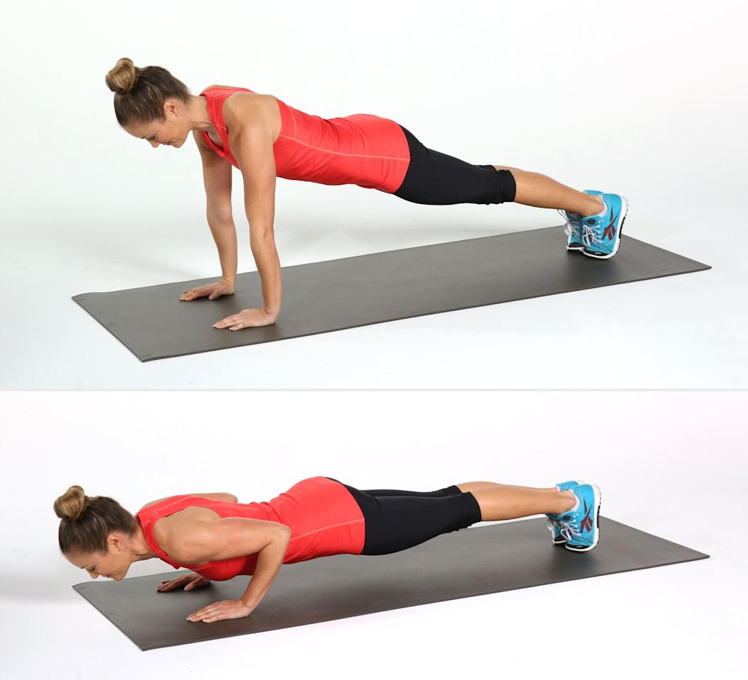 <ul> <li>Start resting on all fours.</li> <li>With your palms flat, raise onto your toes in a high plank position. Keep your hands directly below your shoulders, feet at hips-distance apart, and core engaged.</li> <li>Bend the elbows behind you and lower your chest to the floor. Keep your upper arms tight to your body so your elbows are against your ribs on both sides. Engage your core and keep your back flat throughout the movement.</li> <li>Straighten the arms, coming back to plank position.</li> <li>This counts as one rep. Complete 10 reps.</li> <li>You can modify this move by dropping down to your knees, as Graham shows.</li> </ul>