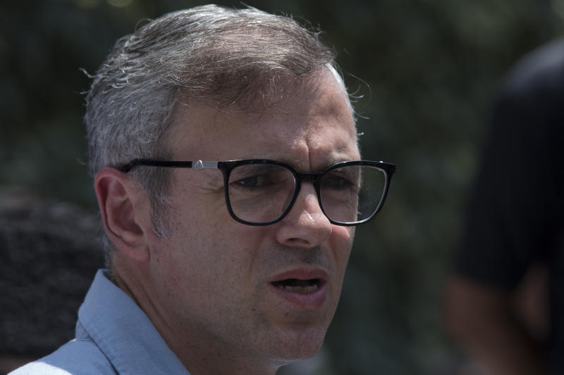 Former Chief Minister of Jammu and Kashmir Omar Abdullah speaks during a press conference in Srinagar, Indian controlled Kashmir, Saturday, Aug. 3, 2019. Abdullah said that the Indian government should give a statement Monday in parliament on the need to end Amarnath Yatra and evacuate tourists in the region. (AP Photo/ Dar Yasin)