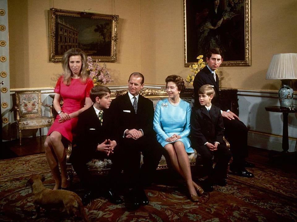 <p>Prince Phillip, the Queen, Princess Anne, Prince Andrew, Prince Philip, Queen Elizabeth, Prince Edward and Prince Charles at Buckingham Palace. </p>