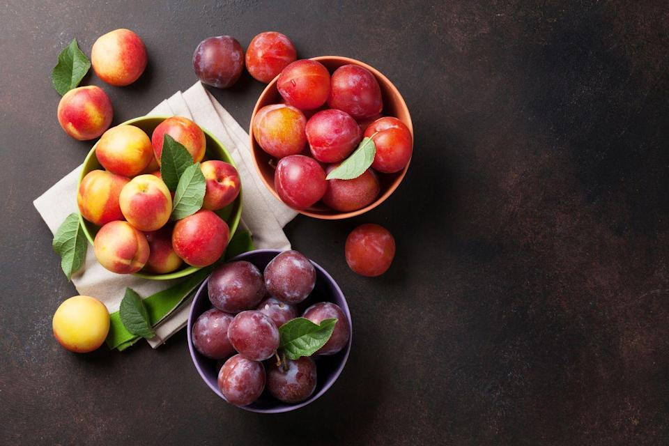 """<p>Peaches and nectarines are like fruit cousins that share a lot of similar benefits, one of which is their high potassium content. A large peach or nectarine provides about 10 percent of a person's daily recommended value. The potassium helps balance water levels in the body and helps us get rid of excess <a href=""""https://www.prevention.com/food-nutrition/healthy-eating/g26345447/high-sodium-restaurant-dishes/"""" rel=""""nofollow noopener"""" target=""""_blank"""" data-ylk=""""slk:sodium"""" class=""""link rapid-noclick-resp"""">sodium</a>. </p><p><strong>Try it: </strong>Eat these sweet fruits as a snack, blend them into smoothies, add them to salads, or grill them to caramelize their sweetness. <br></p>"""