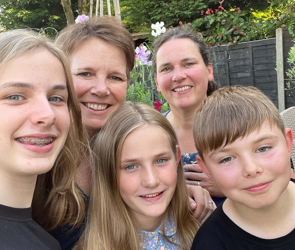 Lara Montgomery (left), her wife Theresa (right) and their three children (Macmillan Cancer Support/PA) (PA Media)