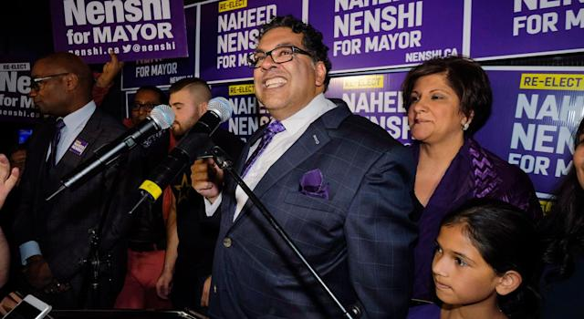 The Flames unsuccessfully pushed to get the incumbent mayor, Naheed Nenshi, booted from office. (THE CANADIAN PRESS/Jeff McIntosh)