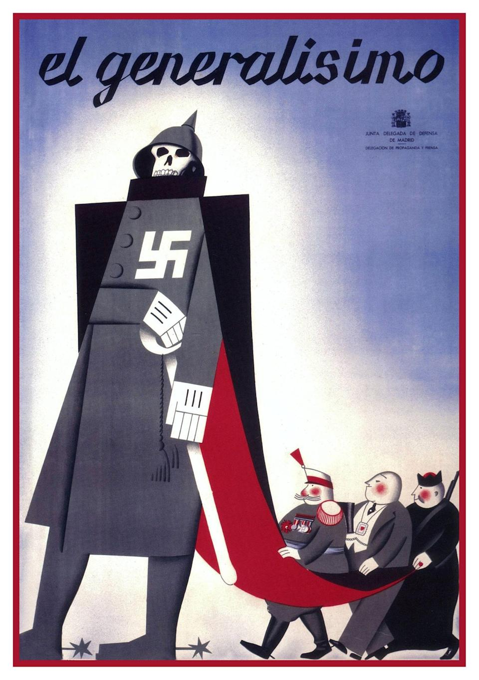 A poster made by the socialist trade union UGT, showing a Nazi-backed Franco followed by a general, a capitalist and a priest, 1937 - Alamy