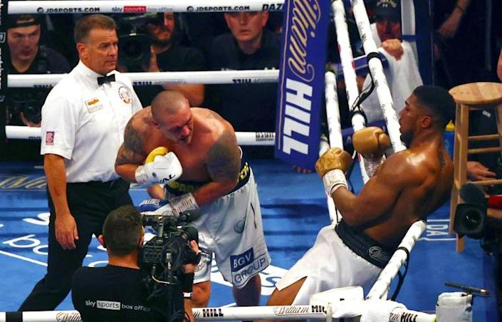 On the ropes: Oleksandr Usyk has Anthony Joshua boxed in (AFP/Adrian DENNIS)